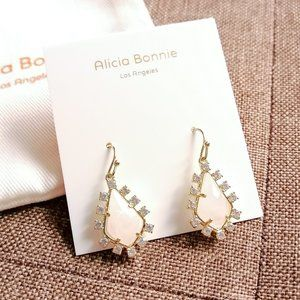 Alicia Bonnie Thetis Gold Earrings Rose Quartz